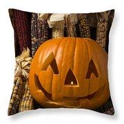 Jack-o-lantern And Indian Corn  Throw Pillow