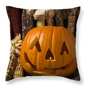 Jack-o-lantern And Indian Corn  Throw Pillow