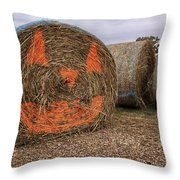 Jack-o-lantern Hayroll Throw Pillow by Jason Politte