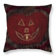 Jack O Lantern Set On A Dark Background With Glowing Flame Throw Pillow
