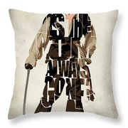 Jack Sparrow Inspired Pirates Of The Caribbean Typographic Poster Throw Pillow by Ayse Deniz