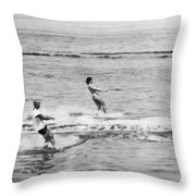 Jackie & John Glenn Water Ski Throw Pillow