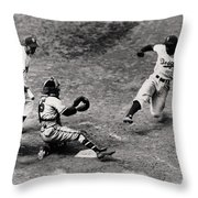 Jackie Robinson In Action Throw Pillow by Gianfranco Weiss