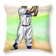 Jackie Robinson Throw Pillow by Mel Thompson