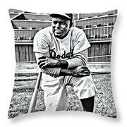 Jackie Robinson Painting Throw Pillow