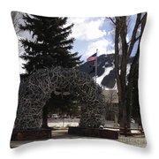 Jackson Hole Wyoming Antler Arch Throw Pillow