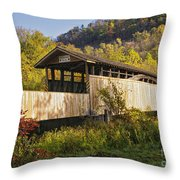 Jackson Mill Covered Bridge Throw Pillow
