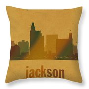 Jackson Mississippi City Skyline Watercolor On Parchment Throw Pillow