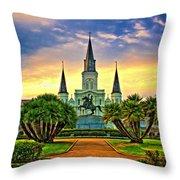 Jackson Square Evening - Paint Throw Pillow