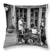Jackson Square Reading 2 Bw Throw Pillow