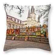 Jackson Square Winter Impasto Throw Pillow