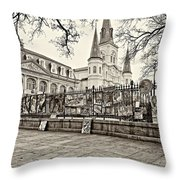 Jackson Square Winter Sepia Throw Pillow