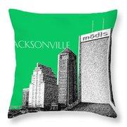 Jacksonville Florida Skyline - Green Throw Pillow by DB Artist