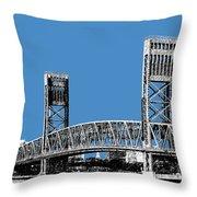 Jacksonville Skyline 2  Main Street Bridge - Slate Blue Throw Pillow