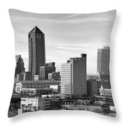 Jacksonville Skyline Morning Day Black And White Bw Panorama Florida Throw Pillow