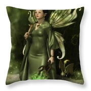 Jade Faery Queen Throw Pillow