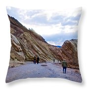 Jagged Edges On Canyon Walls In Golden Canyon Trail In Death Valley National Park-california  Throw Pillow