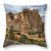 Jagged Peaks And River Reflections Throw Pillow