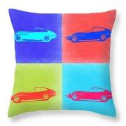 Jaguar E Type Pop Art 2 Throw Pillow by Naxart Studio