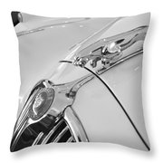 Jaguar Hood Ornament In Black And White Throw Pillow