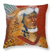 Jaguar Knight Popoca Throw Pillow by Lilibeth Andre