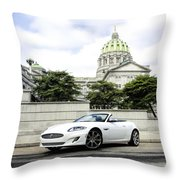 Jaguar Xk And The Capitol Building Throw Pillow