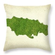 Jamaica Grass Map Throw Pillow by Aged Pixel