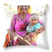 Jaisalmer Mother Daughter Throw Pillow