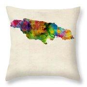 Jamaica Watercolor Map Throw Pillow