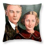 James And Ina K Throw Pillow