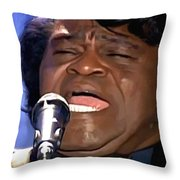 James Brown Portrait Throw Pillow