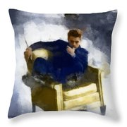 James Dean In Yellow Leather Chair Throw Pillow