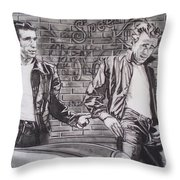 James Dean Meets The Fonz Throw Pillow