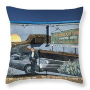 James Dean Mural In Tucumcari On Route 66 Throw Pillow by Carol Leigh