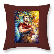 James Dean - Palette Knife Oil Painting On Canvas By Leonid Afremov Throw Pillow