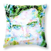 James T. Kirk - Watercolor Portrait Throw Pillow by Fabrizio Cassetta