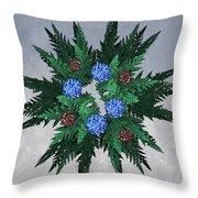 Jammer Blue Red Snow Wreath Throw Pillow