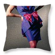 Janepinkbow-b Throw Pillow