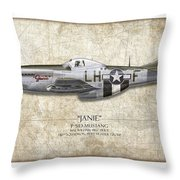 Janie P-51d Mustang - Map Background Throw Pillow