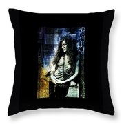 Janis Joplin - Blue Throw Pillow