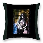 Janis Joplin - Gold Throw Pillow