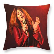 Janis Joplin Painting Throw Pillow
