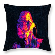 Janis Joplin Psychedelic Fresno  Throw Pillow by Joann Vitali