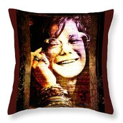 Janis Joplin - Upclose Throw Pillow