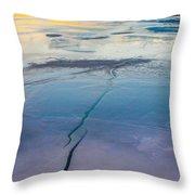 January Sunset On A Frozen Lake Throw Pillow