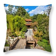 Japan In Pasadena - Beautiful View Of The Newly Renovated Japanese Garden In The Huntington Library. Throw Pillow