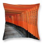 Japan, Red Columns Along Pathway Kyoto Throw Pillow
