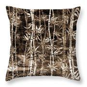 Japanese Bamboo Sepia Grunge Throw Pillow