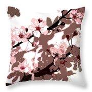 Japanese Blossom Throw Pillow by Sarah OToole