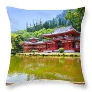 Japanese Byodoin Temple Throw Pillow
